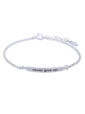 Silverarmband Never give up