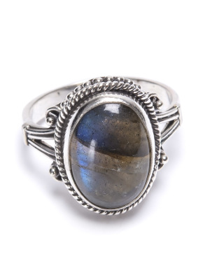 Labradorit, oval silverring med filigrankant
