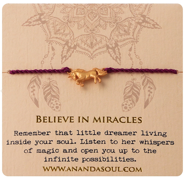 BELIEVE IN MIRACLES armband guldpläterad mässing